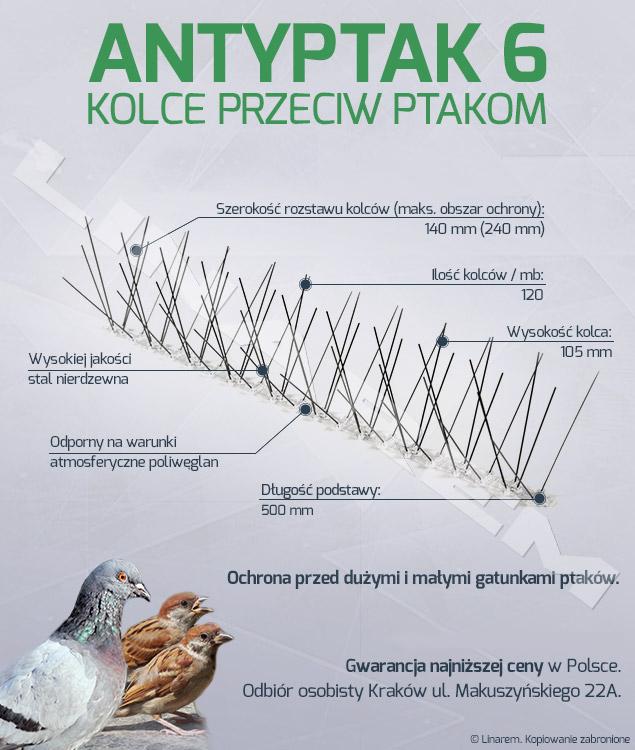 antyptak 6, producent kolców na ptaki, hurtownia kolców na ptaki, sklep kolce na ptaki